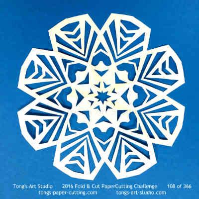 8 repeats, 8 points fold and cut paper cutting, kirigami mandala
