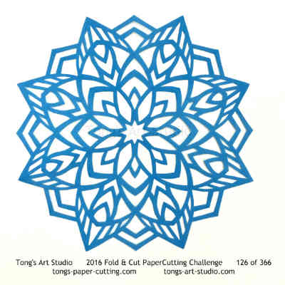 8 repeats, 8 points fold and cut paper cutting, kirigami Mandala, Mandala paper cut