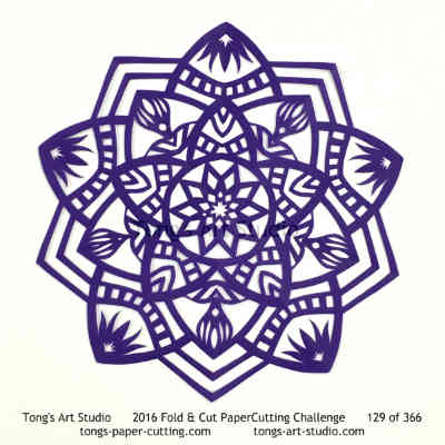 5 repeats, 5 points fold and cut paper cutting, kirigami Mandala, Mandala paper cut