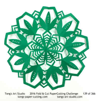 9 repeats, 9 points fold and cut paper cutting, kirigami Mandala, Mandala paper cut