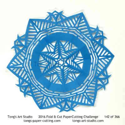 6 repeats, 6 points fold and cut paper cutting, kirigami Mandala, Mandala paper cut