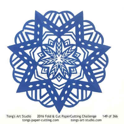 7 repeats, 7 points fold and cut paper cutting, kirigami Mandala, Mandala paper cut