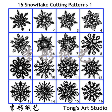 16 Snowflake true sized Cutting Patterns