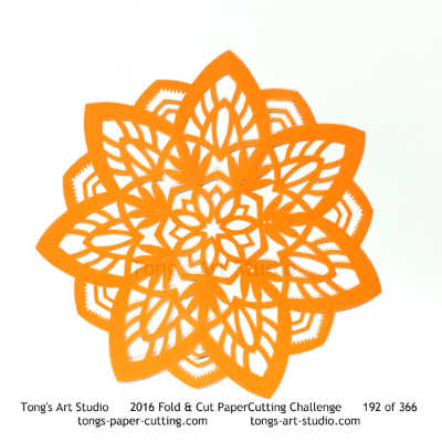 7 repeats, 7 points fold and cut paper cutting, kirigami mandala