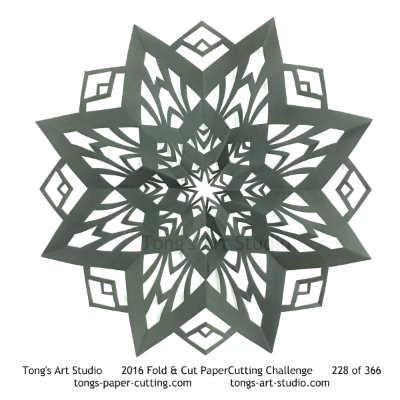 8 repeats, 8 points fold and cut paper cutting, kirigami mandala
