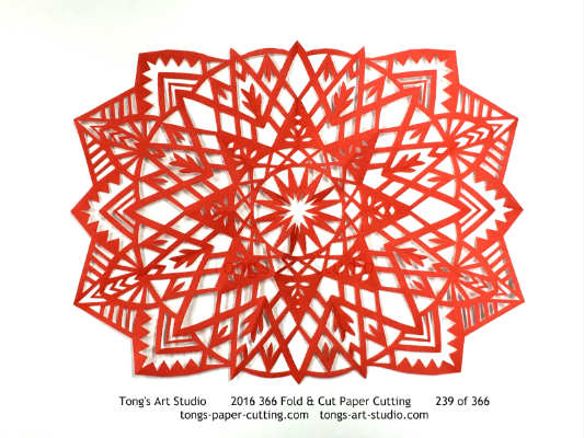 8 repeats + 4 repeats, 8 points + 4 points fold and cut paper cutting, kirigami mandala