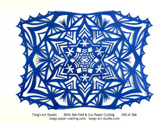 6 repeats + 4 repeats, 6 points + 4 points fold and cut paper cutting, kirigami mandala