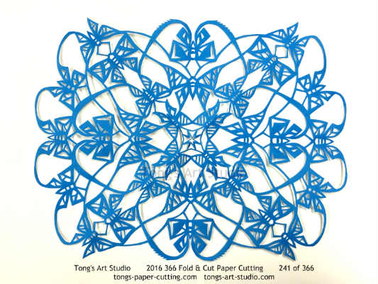4 repeats + 2 repeats, 4 points + 2 points fold and cut paper cutting, kirigami mandala