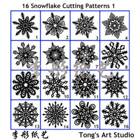 16 Snowflake true sized Cutting Patterns
