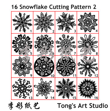 16 Snowflake true sized Cutting Patterns 2