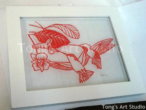 Love Hummingbirds Paper Cut Pattern