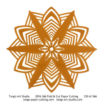 6 repeats, 6 points fold and cut paper cutting, kirigami mandala