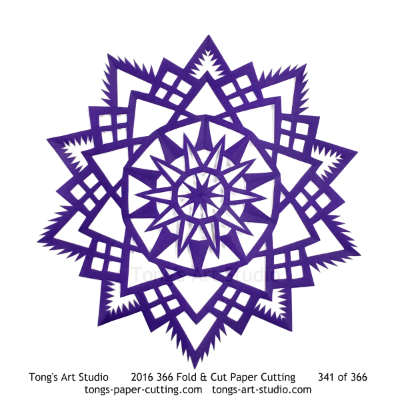 5 repeats, 5 points fold and cut paper cutting, kirigami mandala