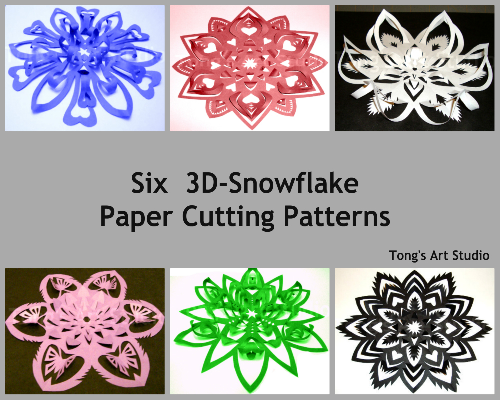 Six 3D-Snowflake Paper Cutting Patterns