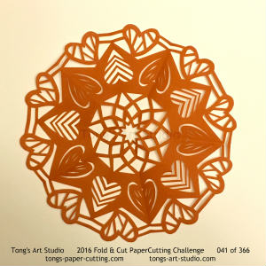 5 repeats, 5 points, kirigami mandala