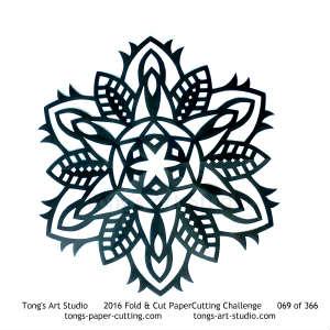 6 repeats, 6 points, kirigami mandala, snowflake paper cut
