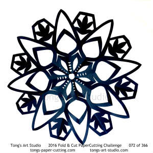 8 repeats, 8 points, kirigami mandala, snowflake paper cut