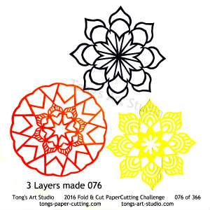 3 paper cuttings combined 070 cuttings, 4 repeats, 4 points, kirigami mandala, snowflake paper cut