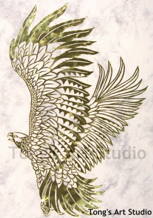 Eagle Fly paper cut template