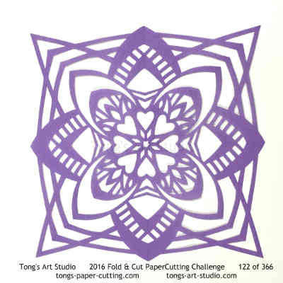 4 repeats, 4 points fold and cut paper cutting, kirigami Mandala, Mandala paper cut