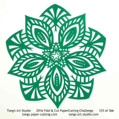 5 repeats, 5 points fold and cut paper cutting, kirigami Mandala, Mandala paper cut