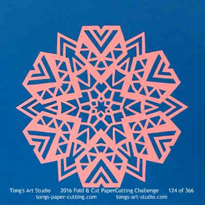 6 repeats, 6 points fold and cut paper cutting, kirigami Mandala, Mandala paper cut