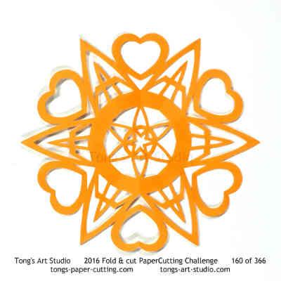 6 repeats, 6 points fold and cut paper cutting, kirigami mandala