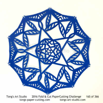 5 repeats, 5 points fold and cut paper cutting, kirigami mandala