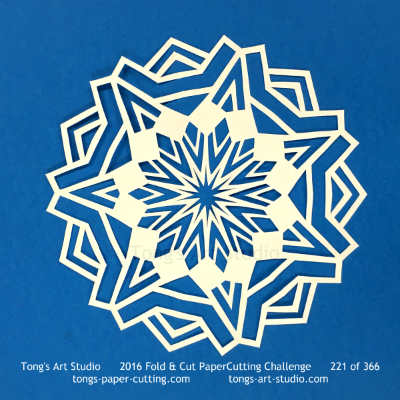 7 repeats, 7 points fold and cut paper cutting, kirigami mandala